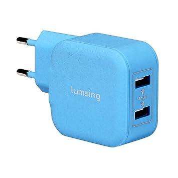 Lumsing Cargador USB de pared 2 Puertos 20W USB iSmart Wall charger, Enchufe europeo para iPhone 6 Plus/ 6/ 5S/ 5/ 4S, iPad Air/Air 2, iPad Mini, ...
