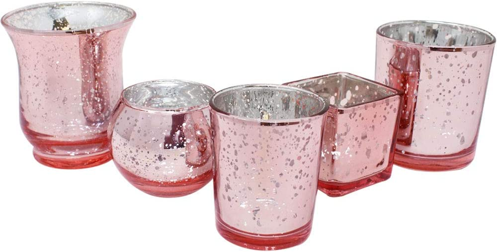 Just Artifacts 5pcs Assorted Shapes & Sizes Speckled Mercury Glass Votive Candle Holders (Blush)