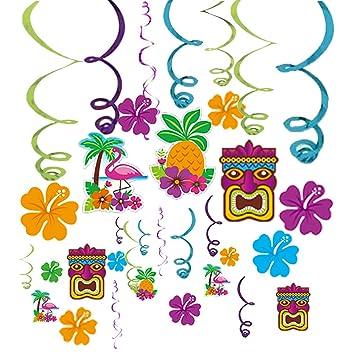 centtechi hanging swirl decorations hawaiian tropical hibiscus