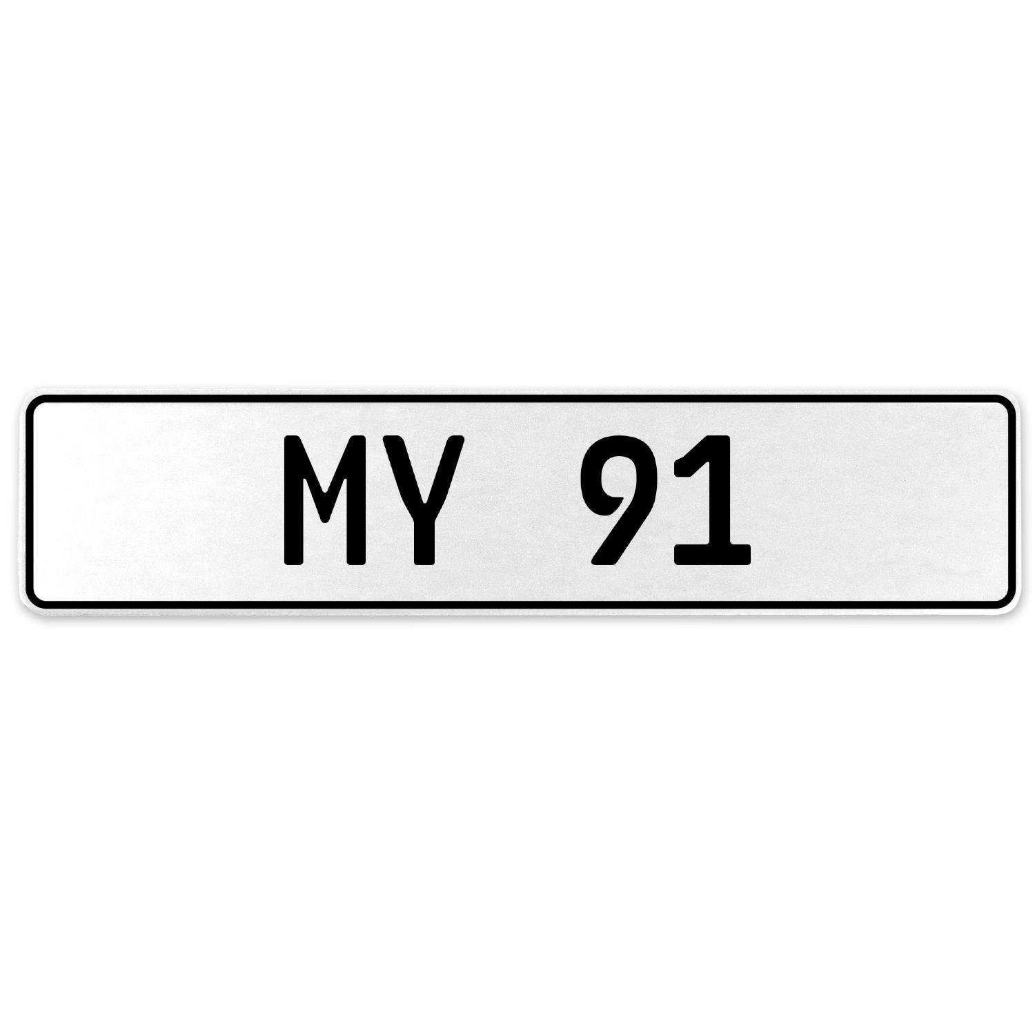 Vintage Parts 555183 My 91 White Stamped Aluminum European License Plate