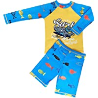 2-Piece Boys Dinosaur&Whale Swimsuit Set Long Sleeve Shirt + Trunks Toddler Swimming Suit Kids Rash Guards Bathing Suits