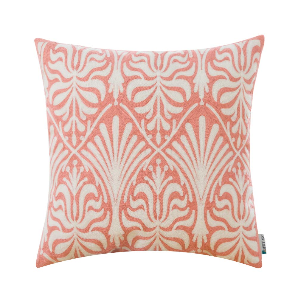 HWY 50 Cotton Embroidered Decorative Throw Pillow Covers Cushion Cases for Couch Sofa Bed Bedroom Coral Pink Modern Simple Geometric Decor Floral 18 x 18 inch 45 x 45 cm,1 Piece