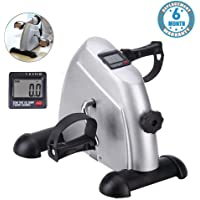 Voroly Portable Ab Exercise Bike Cycle Peddle Exerciser Gym Fitness Exerciser with Adjustable Resistance LCD Display for Leg Arm Cardio (Silver)