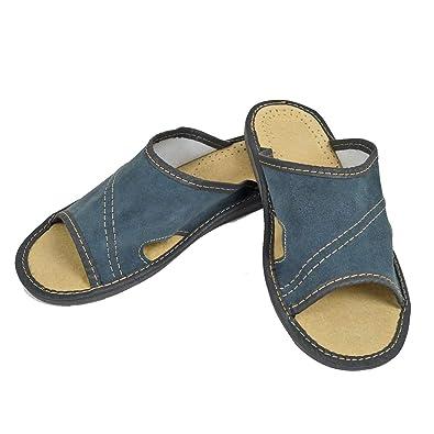 2859d6eed1e0 DF-SOFT Herren Herrenpantoffel Pantoffel Hausschuhe Haus Schuhe Leder  Pantoffel Lederpantoffel Pantoletten Schlappen Modell 30