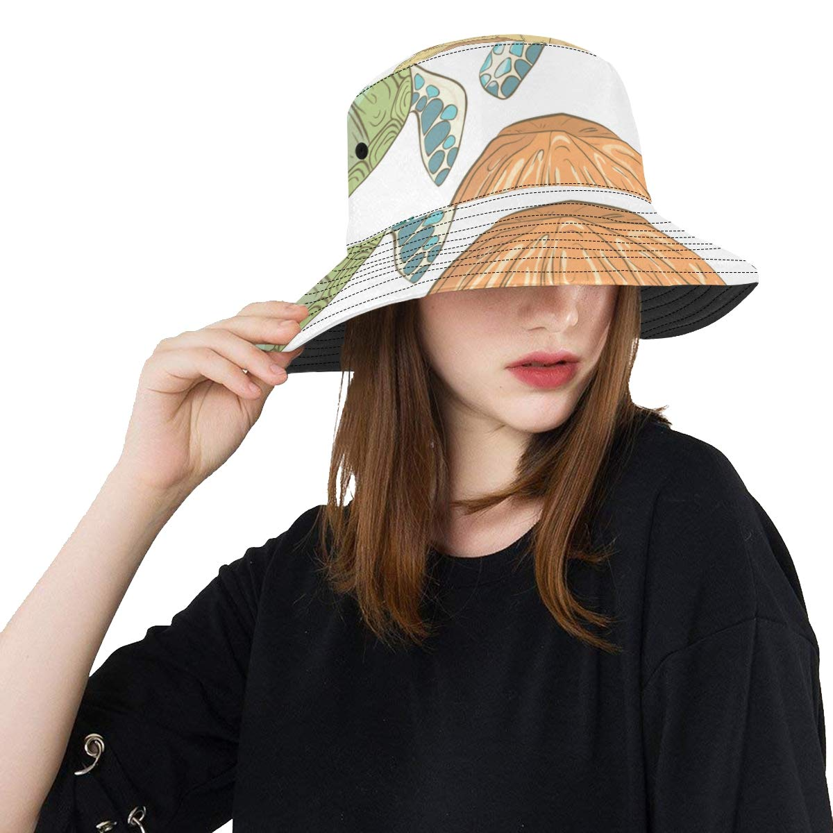 Underwater Ocean Sea Life Animal Green Turtle New Summer Unisex Cotton Fashion Fishing Sun Bucket Hats for Kid Teens Women and Men with Customize Top Packable Fisherman Cap for Outdoor Travel