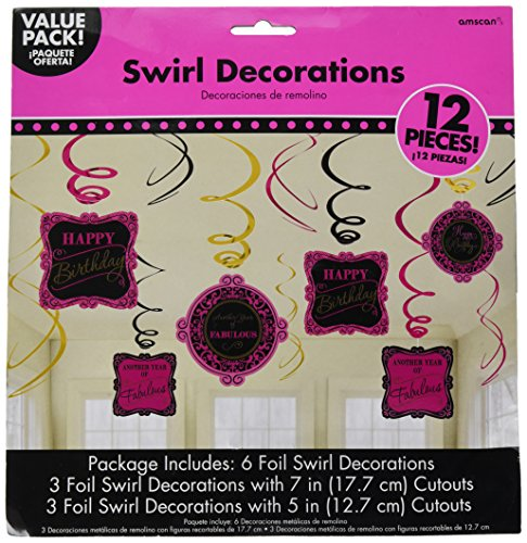 Pink and Fabulous Birthday Foil Swirls and Cutouts Party Decorations, 12-Piece