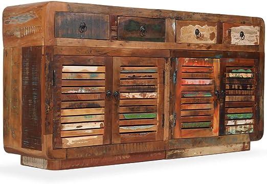 con cestas y cajones color marr/ón de alta calidad Cajonera grande de madera y mimbre vendedor del Reino Unido estilo retro desgastado