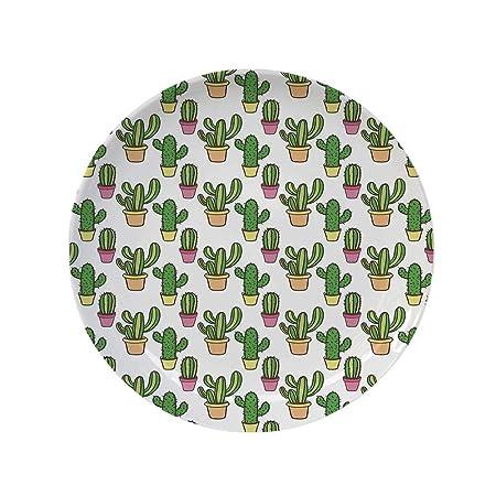 YOLIYANA - Plato Decorativo con diseño de Cactus, jarrones y ...