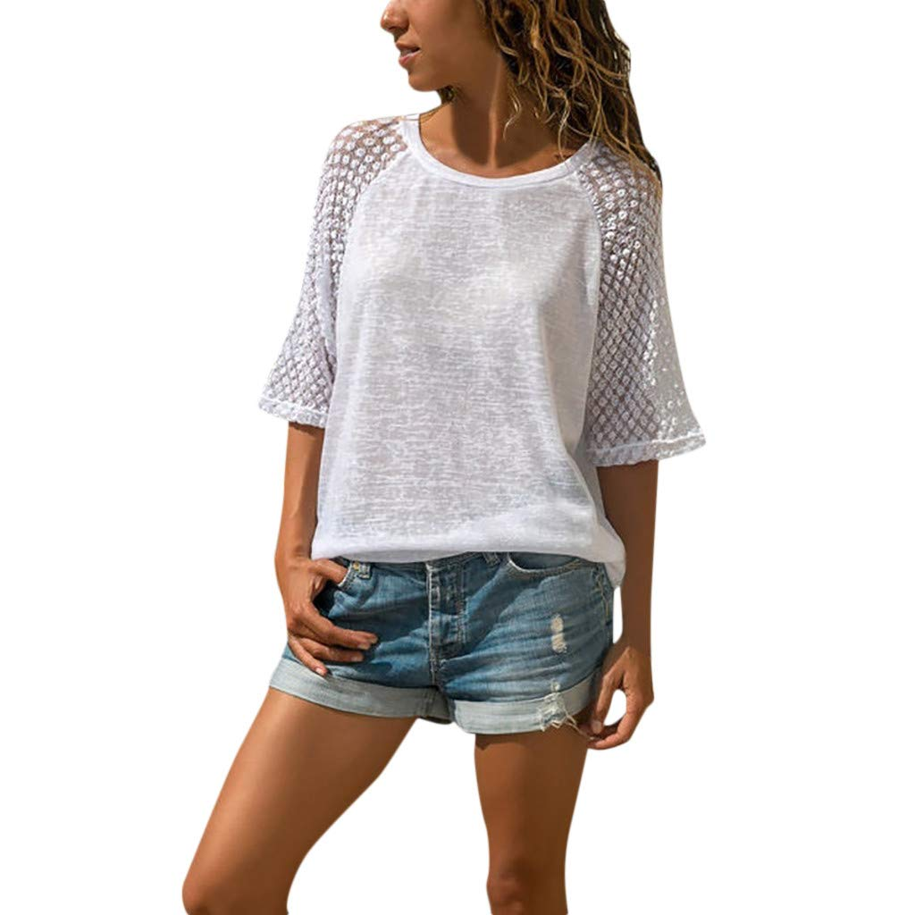 Womens Summer Casual Tops Lace Stitching Tunic Blouse Down Tie Knot Henley Tops Cropped Sleeves Plain Shirts Yamally White