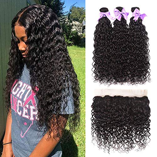 Brazilian Hair Water Wave 3 Bundles with Frontal 13x4 Free Part Lace Frontal 100% Virgin Human Hair Bundles Brazilian Hair Extensions Natural Black Color(14 16 18 + 12 frontal)