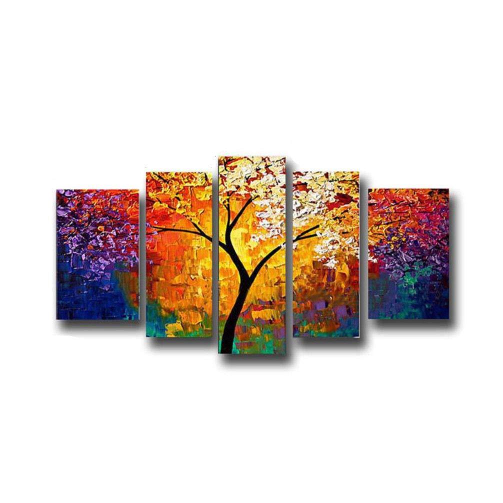La Vie 5 Parti Quadro Astratto su Tela Immagine di Albero Multicolore Stampa su Tela Pittura Murale Decorativa Wall Art per Home Decor Casa Studio Ufficio Spa Hotel Regalo Senza Telaio
