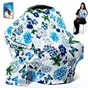 LittleGiggle Baby Car Seat Cover & Nursing Cover | Multiuse Breastfeeding Cover Scarf, Car Seat Canopy, Stroller, Carseat Covers for Girls & Boys, Stretchy Poncho, Infinity Shawl – Blue Floral by