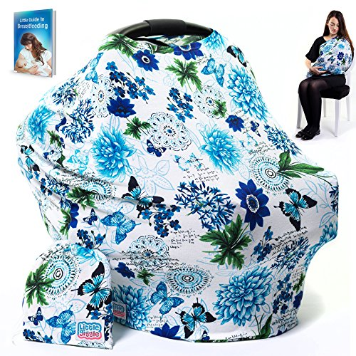 LittleGiggle Baby Car Seat Cover & Nursing Cover | Multiuse Breastfeeding Cover Scarf, Car Seat Canopy, Stroller, Carseat Covers for Girls & Boys, Stretchy Poncho, Infinity Shawl – Blue Floral by (Toddler Cover Floral Seat Car)