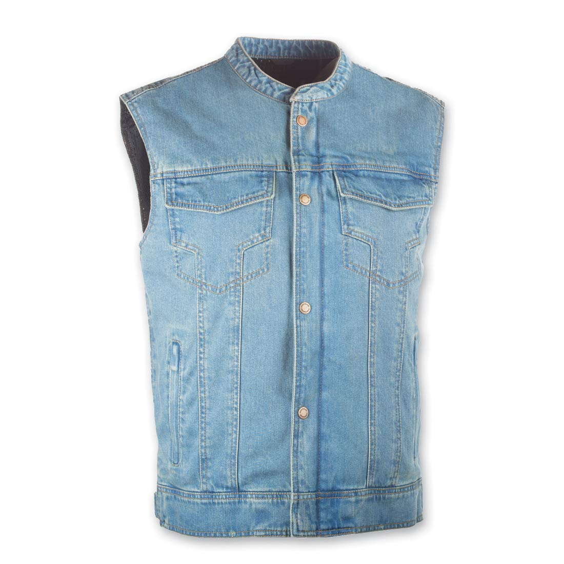 Highway 21 Unisex-Adult Iron Sights Denim Vest with Club Collar Blue Small