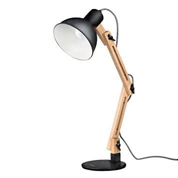 Tomons DL1001B Wood Swing Arm Desk/Designer Table Lamp, Reading Lights,  Study/