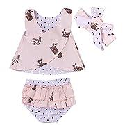3pcs Baby Girls Rabbit Printed Cross Shirt+Ruffled Leaf Short Pants+Headband Outfit Set (6-12M, Pink)