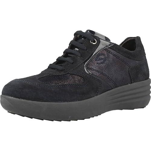 Stonefly 105305 100 Zapatillas De Deporte Mujer Gamuza/charol Azul: Amazon.es: Zapatos y complementos