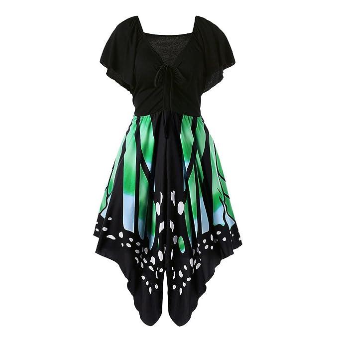 Vestidos mujer Vestido de verano Elegante vestido forma de mariposa Vestido ajustado de manga corta para