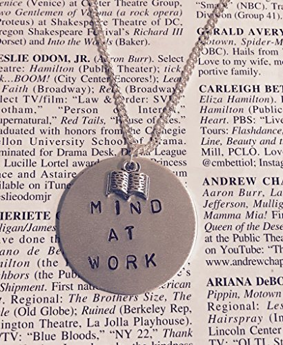 HAMILTON: MIND AT WORK Silver stamped necklace with book charm