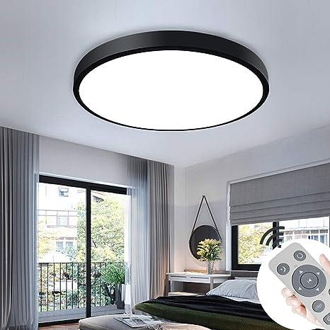 COOSNUG 36W LED Deckenleuchte Dimmbar Schwarz Rund Deckenlampe Wohnzimmer  Küche Panel Lampe Deckenbeleuchtung [Energieklasse A++]