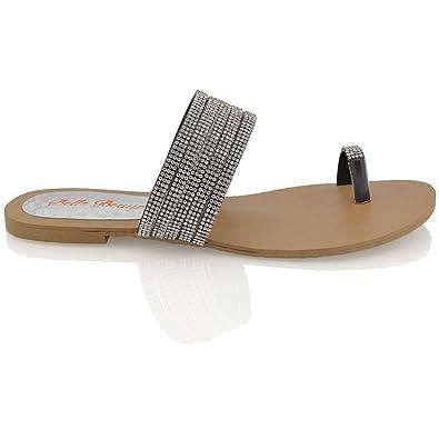 Essex Glam Damen Schwarz Flache Zehentrenne Sommer Thong Sandalen mit groben Strasssteine EU 39 SG1vKhu