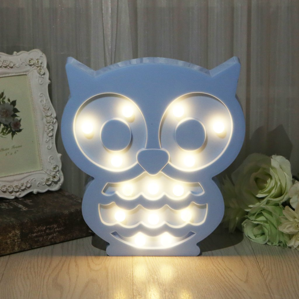 EA-STONE Owl Light For Party Supplies, Kids Colorful Led Light Battery Operated for Table Decor Wall Decor,Kids' Room,Living Room,Bedroom Decoration(Blue)