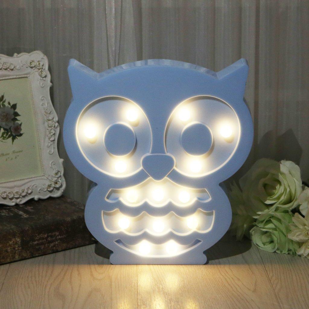 SYlive Novelty Animal LED 3D Night Light - Owl Decoration Children's Room Bedside Lamp Kids Toy