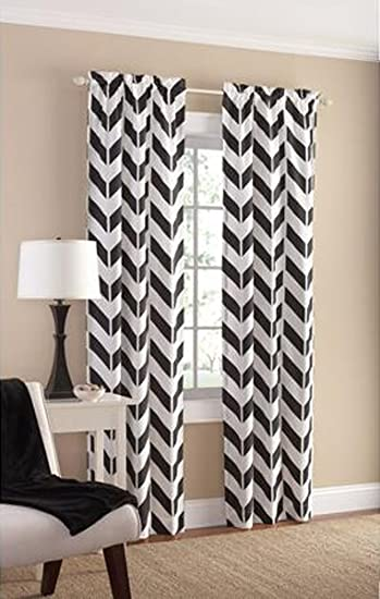 kitchen white home amazon curtains chevron black dp panels com pair curtain mpasl l panel