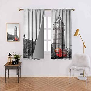 Wear Pole Curtains Curtains for Kitchen Big Ben Tower Begining of Westminster Bridge with Black Cab and Red Bus Image Grey Black Red Room Darkening Noise Reducing Set of 2 Panels W55 x L72