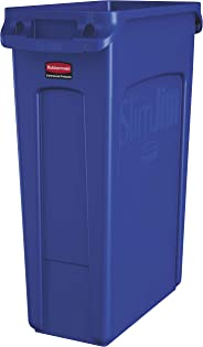 Rubbermaid Commercial Vented Slim Jim Trash Can Waste Receptacle, 23 Gallon, Blue, Plastic, 1956185