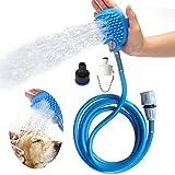 2in1 Perros Rociador de Ducha con Masajes Cepillo Herramienta de Baño con Manguera Flexible-Azul