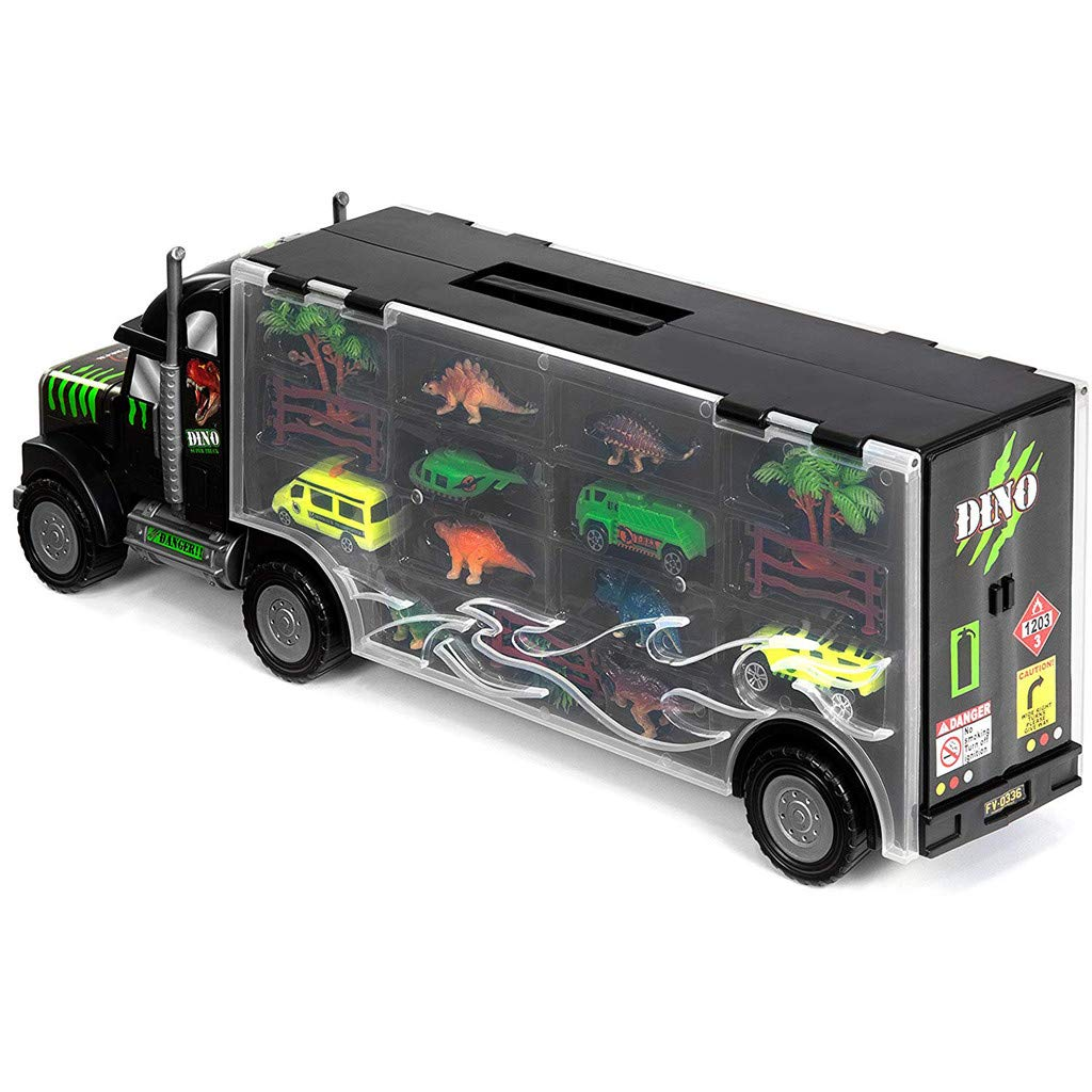 Sikye Big Size Transporter Car Dinosaur Transport Carrier 16-Piece Includes 6 Dinosaurs, 3 Cars, 3 Fences, 2 Trees, 1 Bush, and 1 Helicopter by Sikye (Image #2)