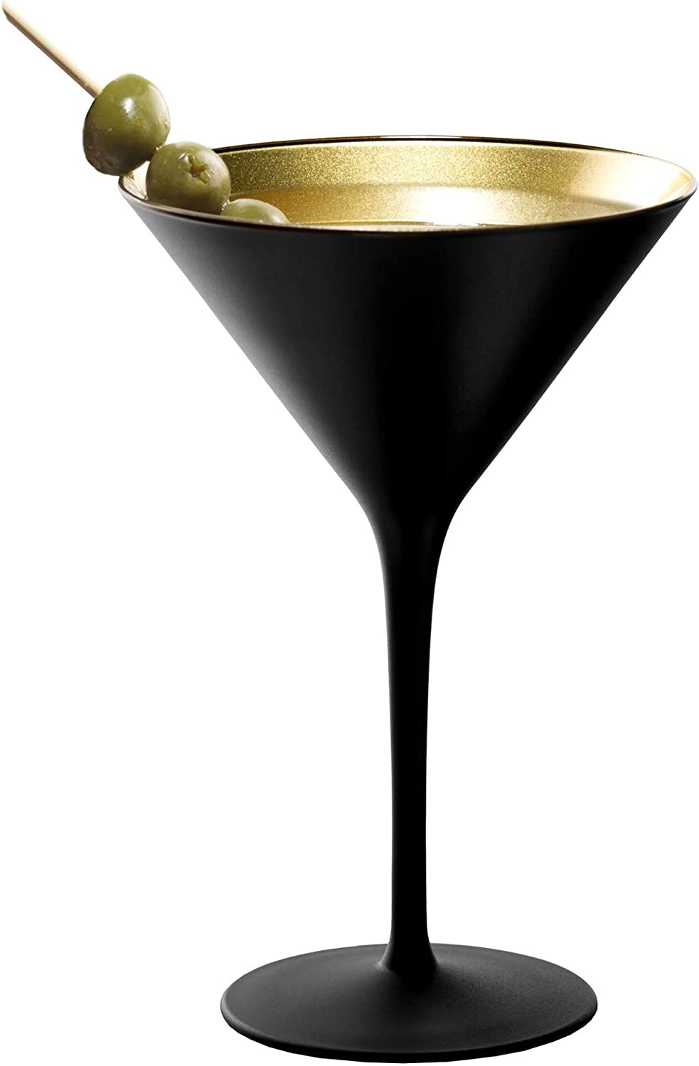 Stolzle Lausitz Olympia German Made Black and Gold Martini Glass, Set of 2