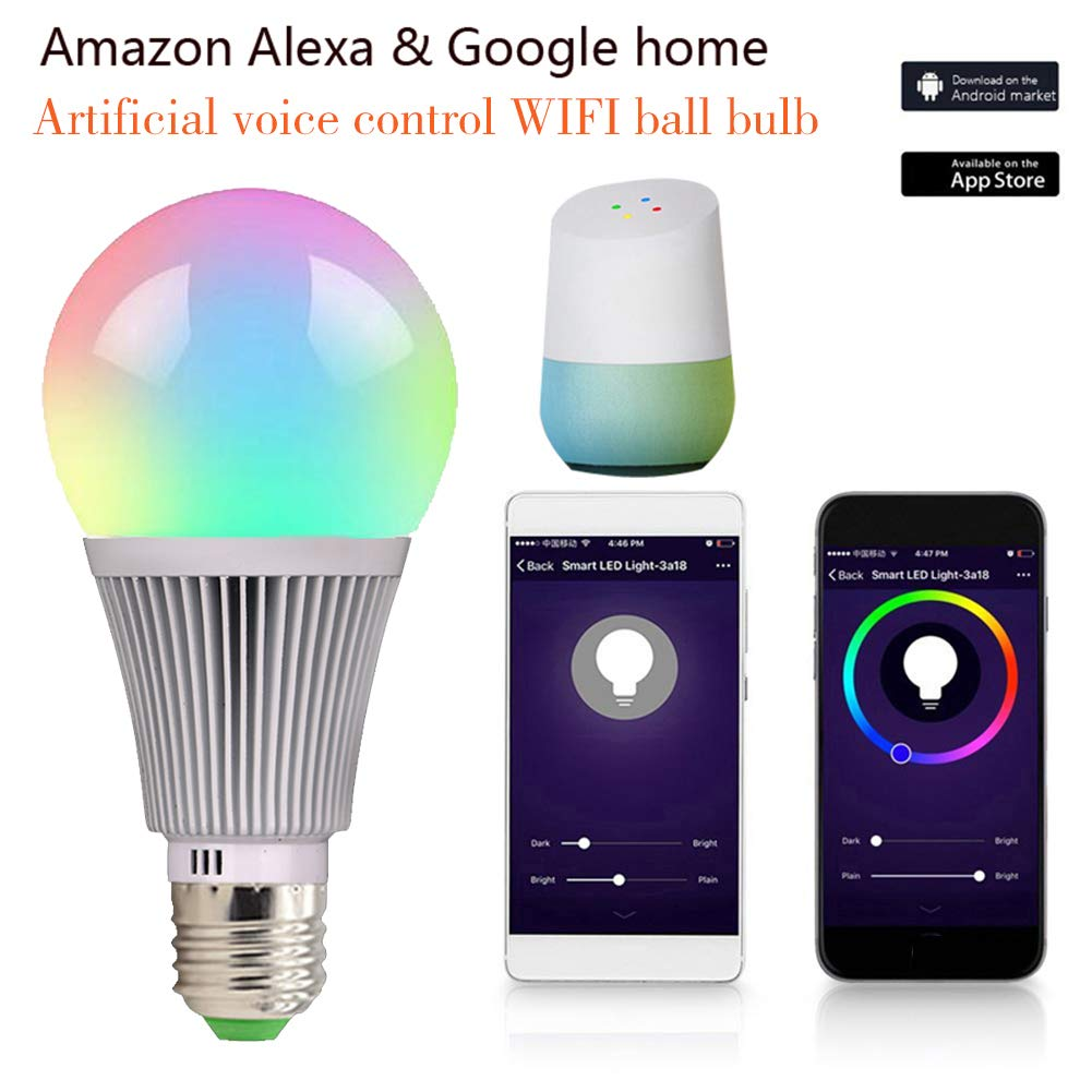 Fcmila WiFi Smart Light Bulb Dimmable Wake-Up Lights for Alexa & Google Assist Smart Life Alexa Google Assistant led WiFi Bulb ampoule lamp bombillas ...