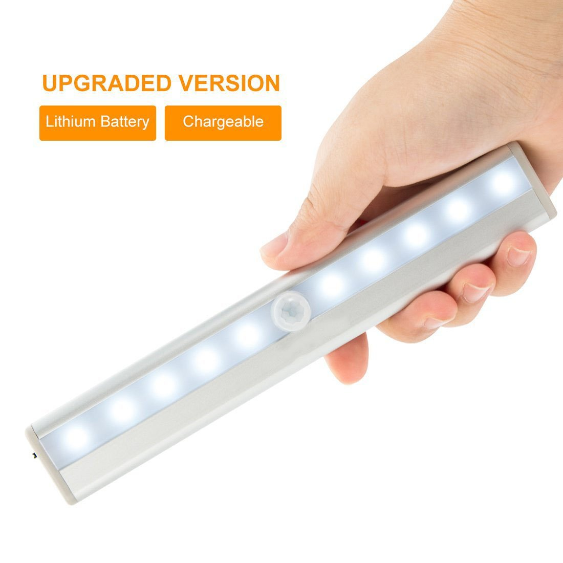 Vilso LED T-02U USB Rechargeable 10 Bright LED Night Light, Stick-on Anywhere Motion Sensing Light Bar