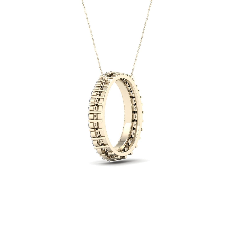 IGI Certified 10K Gold 1//4Ct TDW Diamond 10K Gold Journey Diamond Pendant Necklace I-J,I2