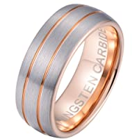 Mens Tungsten Ring -Rose Gold Tone Tungsten Carbide Wedding Band Ring 8mm