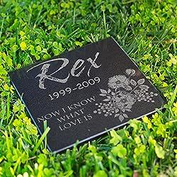 Personalized Dog Memorial Customized Dog Grave Marker Custom Headstone - DSG#2 - Aged Granite