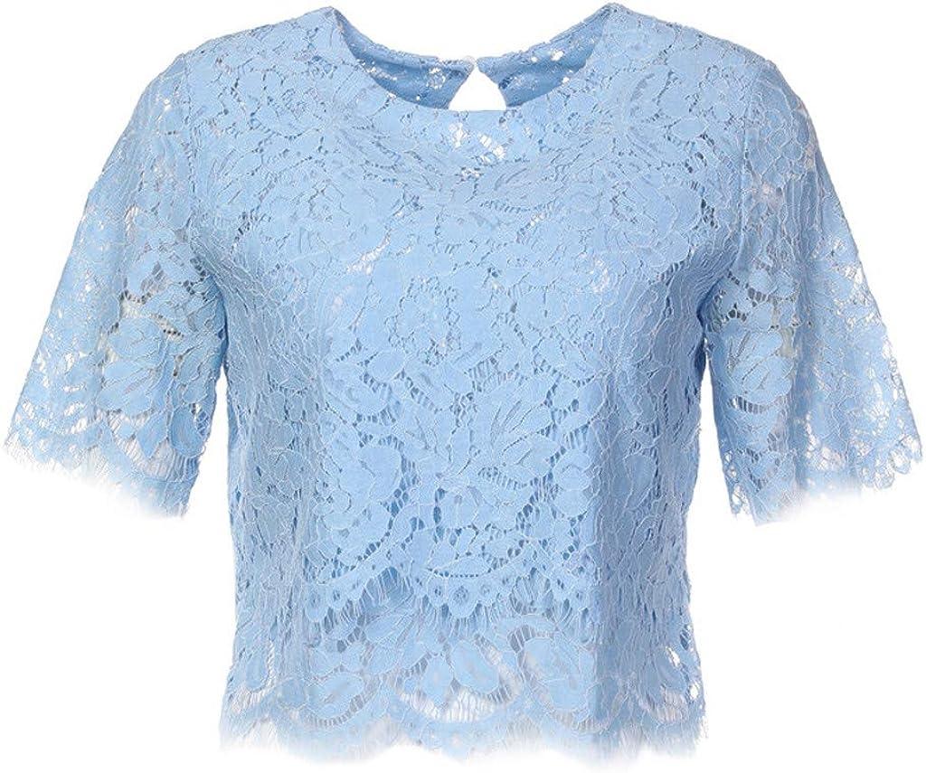 MRULIC Damen Spitzenoberteile L/ässige Bluse mit Kurzen /Ärmeln Rundhals Elegant T-Shirt