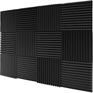 "Mybecca 12 PACK Acoustic Foam Wedge Soundproofing Wall Tiles 12"" X 12"" X 1"", Charcoal"