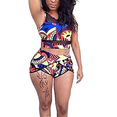 e5bb5147fc Amazon.com: MUMUBREAL Swimsuits for Women African Print High Waisted Bikini  Set Two Piece Bathing Suits: Clothing