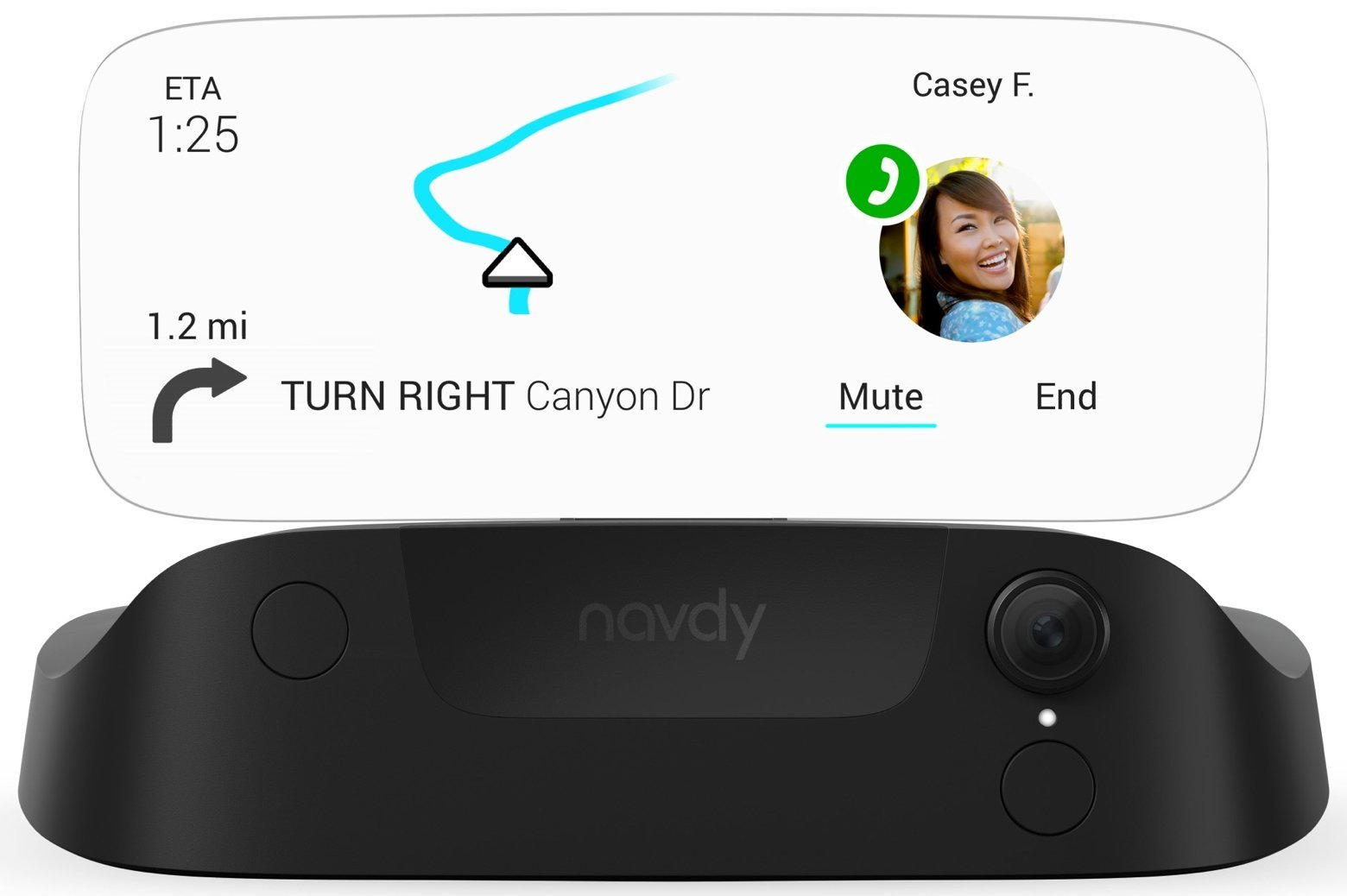Navdy – Heads Up Display & GPS Navigation - Stay Connected with Maps, Calls, Texts & Music Projected Through Your Windshield