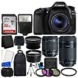 Canon EOS 80D DSLR Camera Body + Canon EF-S 18-55mm IS STM & Canon EF-S 55-250mm IS STM Lens + 58mm 2x Lens + Wide Angle Lens + 32GB Memory Card + Auto Power Flash + UV Filter Kit + Accessory Bundle