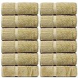 BC BARE COTTON Bare Cotton Luxury Hotel & Spa Towel Turkish Wash Cloths Dobby Border,Driftwood, Set of 12