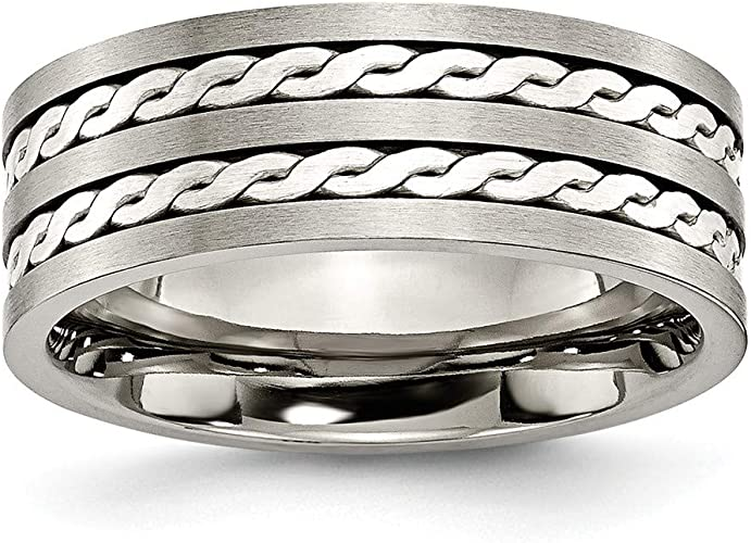 JewelryWeb Titanium Ridged Edge Satin Polished Band Ring in Titanium Variety of Ring Sizes and 6mm 8mm