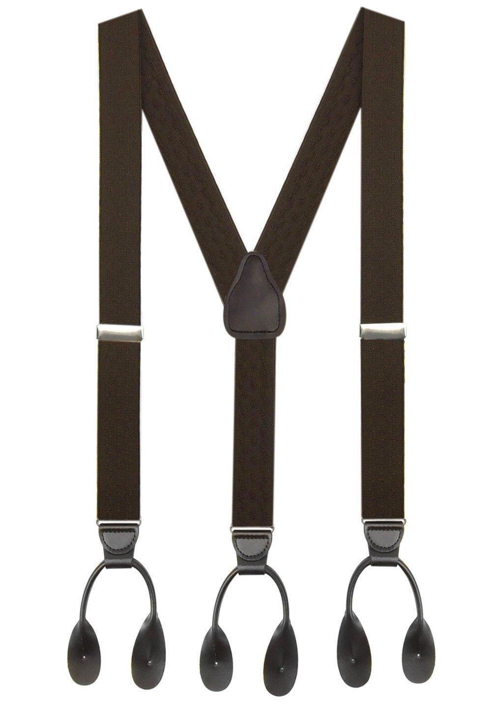 Hold'Em 1 ¼ Fancy Stripes and Solid Suspenders for Men – Y-Back Adjustable Leather Trimmed Button End-Brown New Wave