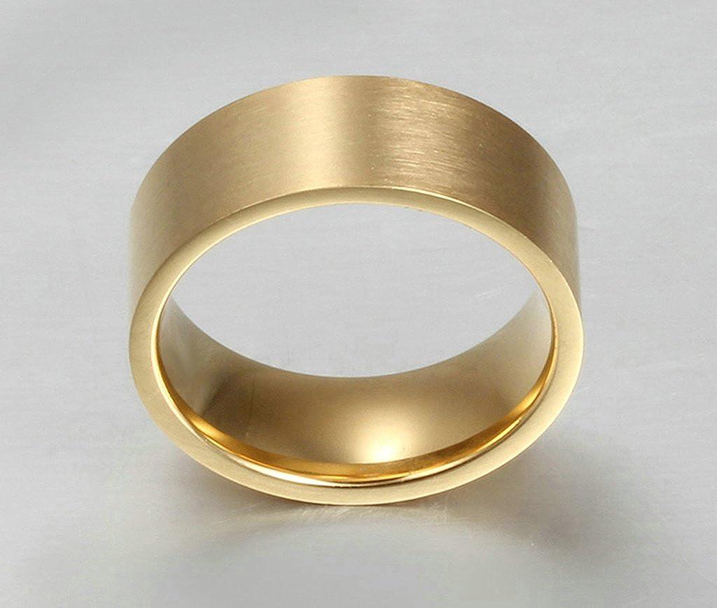Bishilin 8MM Titanium Steel 18K Gold Plated Wedding Rings Anniversary Gift