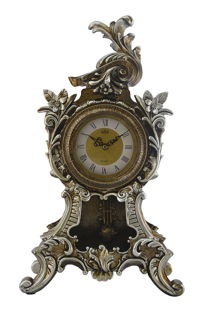 Polished Antique Round Decorative Polyresin Hand-Painted Wall Clock w/Swinging Pendulum