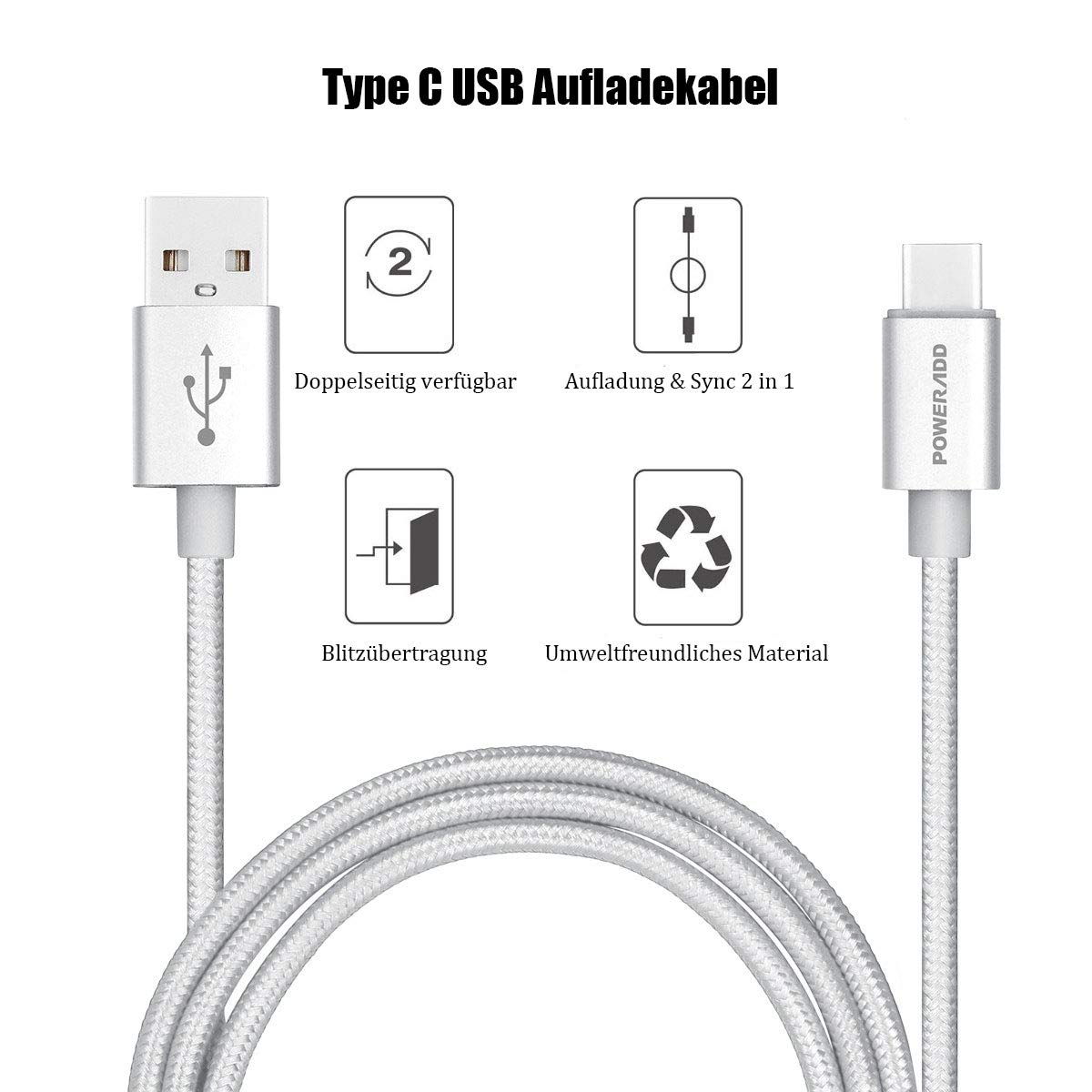Poweradd Type C USB-C to USB 3.0 Type A USB-A Ladekabel Datenkabel, 3 Stück