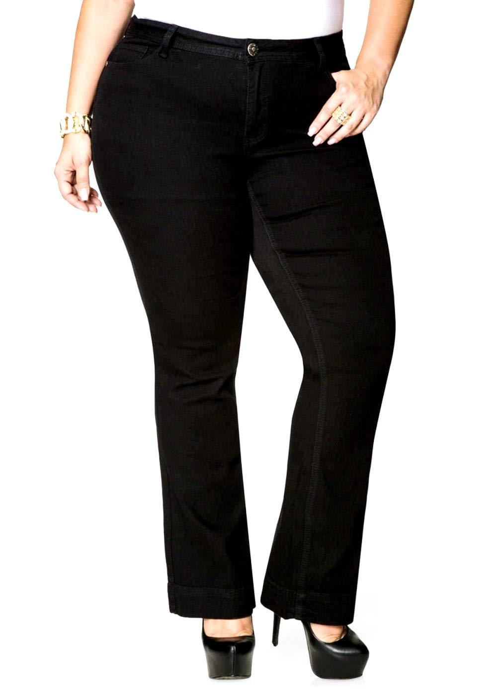 Avenue Womens Plus Size Petite Bootcut Stretch Blue Black Denim Jeans Pants 8X (20P, Black)
